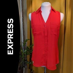 Express Sleeveless Portofino Button Down Shirt, XS